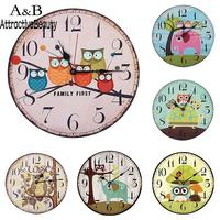 Animal 1 Round Catoon Battery Not Analog Clock x Pattern Decor Owl AA Tree Home Owl Watch Wall Animal Quartz Included