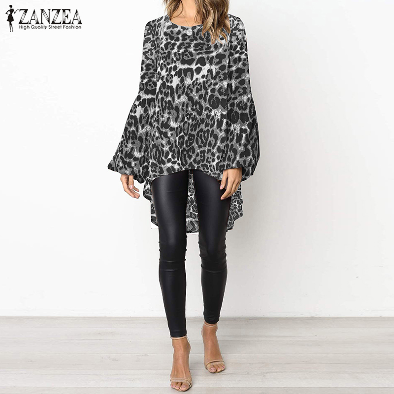 2019 ZANZEA Women Sexy Leopard Printed Blouse Casual Lantern Sleeve Irrugular Hem Shirt Loose Work Blusas Summer Tunic Top 5XL