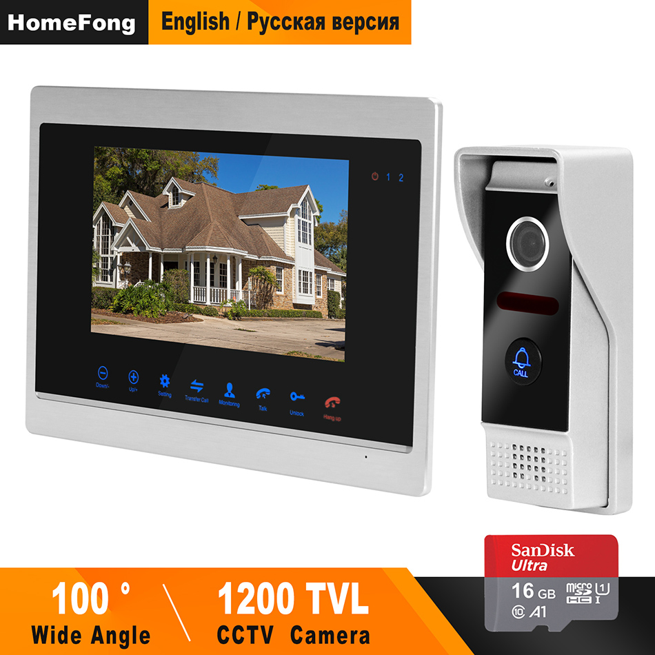 HomeFong 7 Inch Wired HD 1200TVL Video Intercom Doorbell Camera Waterproof IR Night Vision Camera Doorbell Home Security Kits