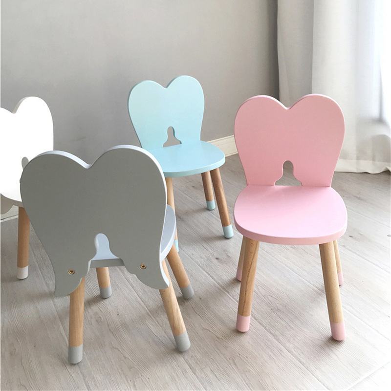 Natural Beech Angel Kids Chair Home Decor Wooden Stool Furniture Toddler Nursery Children S Room Decoration