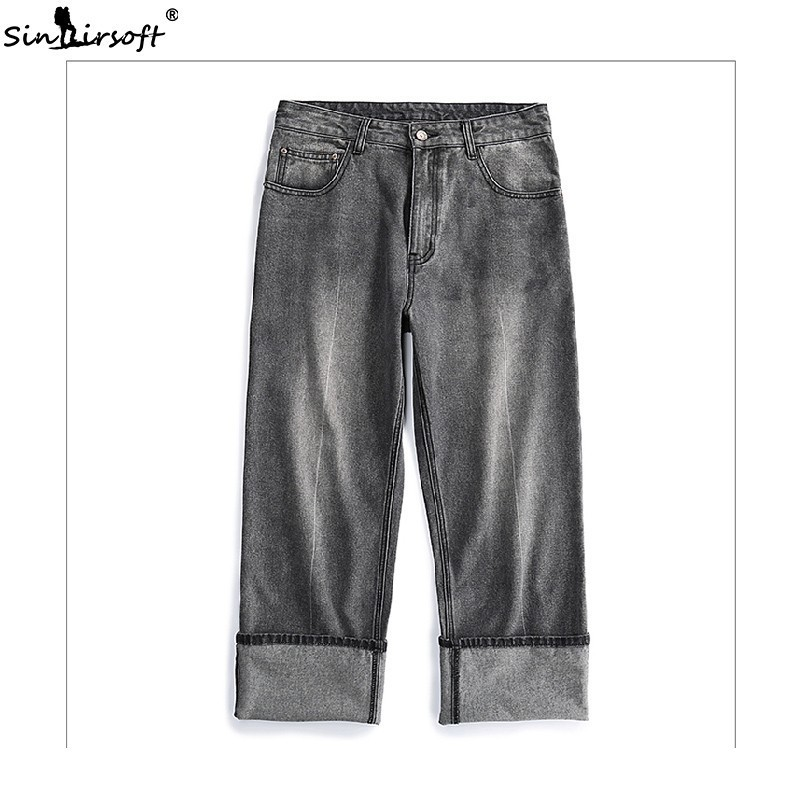 Hot Sale Men's High Waist Solid Color Wide Leg Ankle-Length Pants Male High Street Loose Skateboard Casual Jeans Trousers Summer