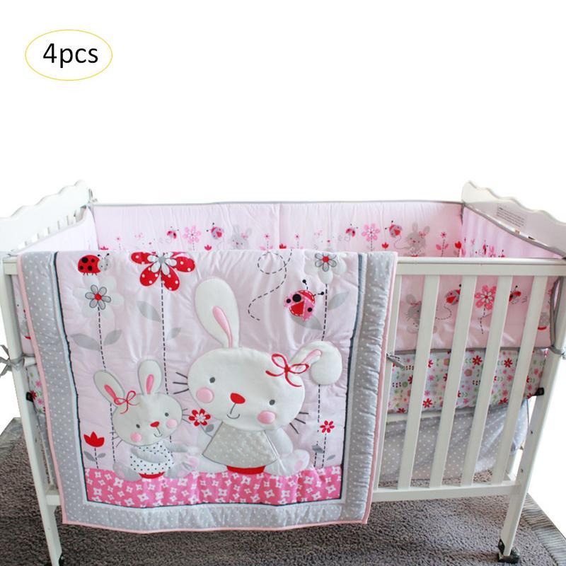 Lapin rose dessin animé bébé literie ensemble bébé berceau berceau lit ensemble de literie Cunas berceau couette feuille pare-chocs lit jupe inclus