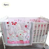 Pink Rabbit Cartoon Baby Bedding Set Baby Cradle Crib Cot Bedding Set Cunas Crib Quilt Sheet Bumper Bed Skirt Included