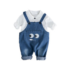 Spring Autumn Infant Clothes Baby Girls Boys Clothing Sets Fashion Kids Lapel T-Shirt Overalls 2 Pcs/Set Children Cotton Costume fashion new kids clothes sets spring autumn baby boys plaid t shirt jeans long sleeve leisure set cotton children clothing page 5