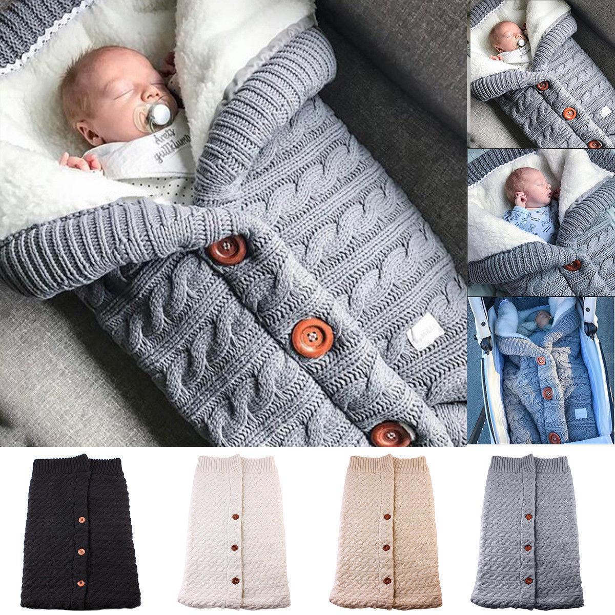 Newborn Baby Winter Warm Sleeping Bags Infant Button Knit Swaddle Wrap Swaddling Stroller Wrap Toddler Blanket Sleeping Bags 1