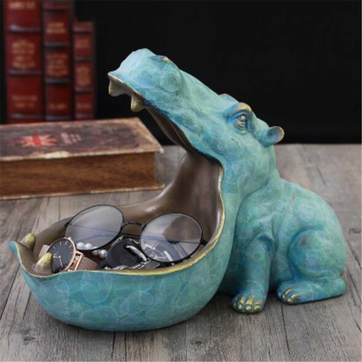 Vintage Hippopotamus Statue Decoration Resin Artware Sculpture Statue For Desk Decor Home Decoration Accessories Free Shipping