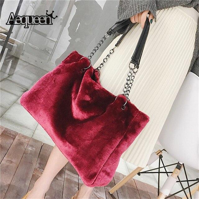 AEQUEEN Red Luxury Faux Fur Bags For Women Handbag Large Capacity Women Winter Shoulder Bag Females Tote Top-handle Feminine Bag