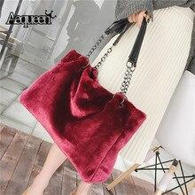 AEQUEEN Red Luxury Faux Fur Bags For Women Handbag Large Cap