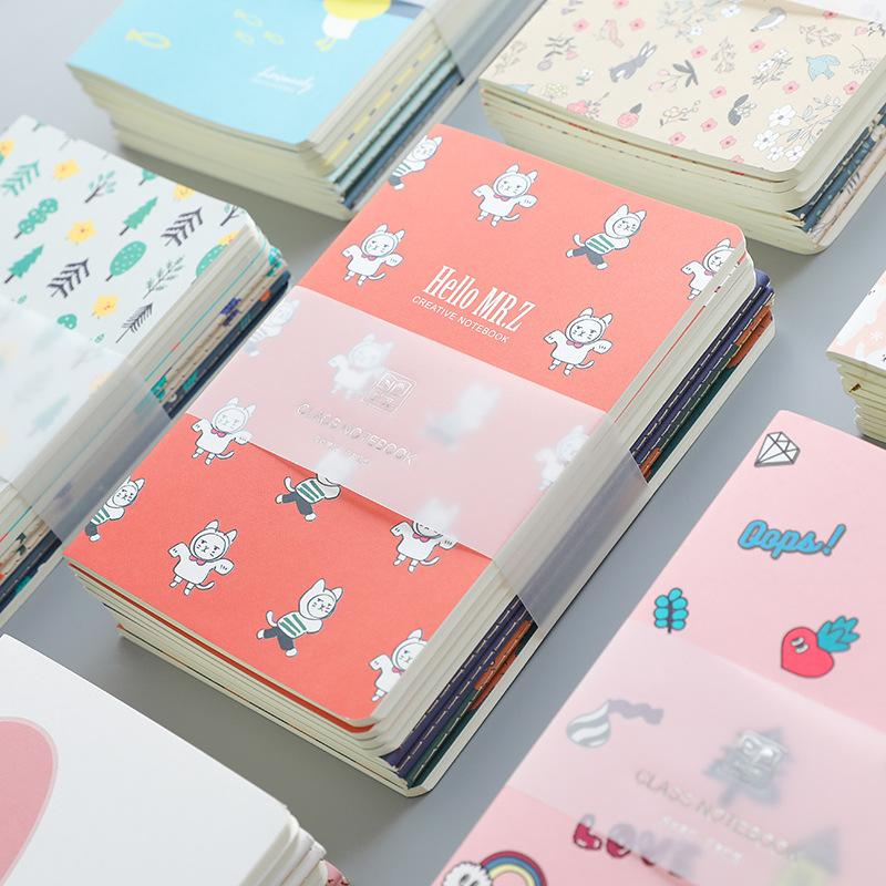 4Pcs A5 Cute Notebook Paper Cute Duck Flower Heart Pattern Lined Paper Notepad Journals Cute Stationery Office School Supplies
