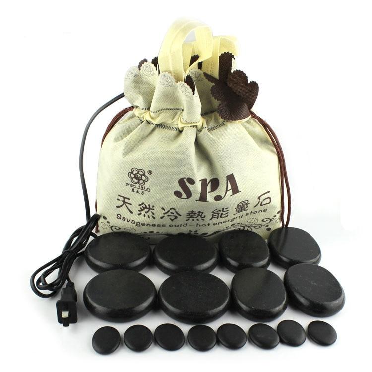 Sac chauffant 16 pièces ensemble energie pierre SPA huile Fine pierre Massage pierre Relaxation pour femme ovaires massage du corps