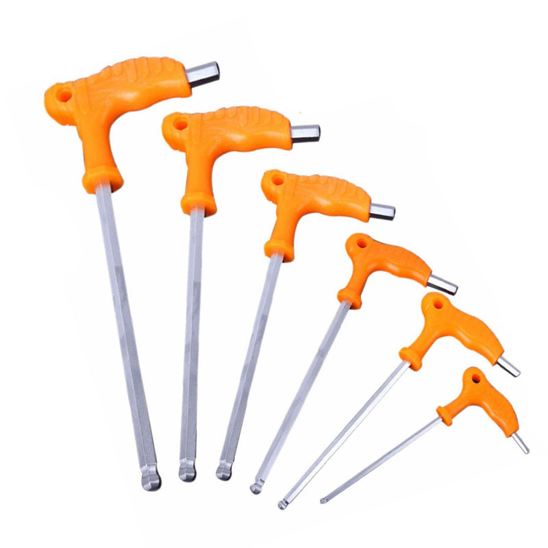 2.5 Mm 3mm 4mm 5mm 6mm 8mm High-carbon Steel Inner Hexagon Wrench T Handle Allen Hex Key Wrench Spanner Practical Tool