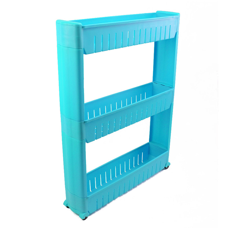 SOFT-Slim Slide Out Kitchen Trolley Rack Holder Storage Shelf Tower Folding 3 Tire, Blue(China)