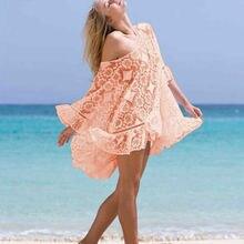 Women Lace Crochet Loose Long Sleeve Bathing Suit Bikini Swimwear Cover Up Summer Beach Cover Up Dress long sleeve crochet panel cover up
