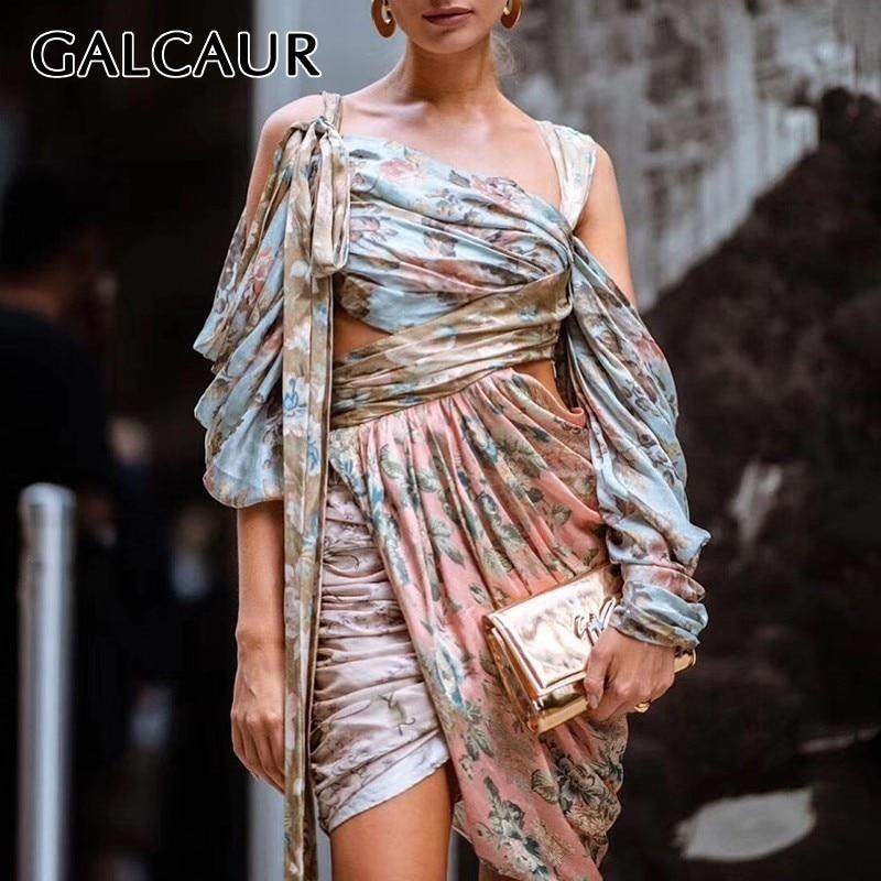 GALCAUR mode imprimer femmes robe une épaule à manches longues taille haute Bandages évider asymétrique Mini robes femme 2019