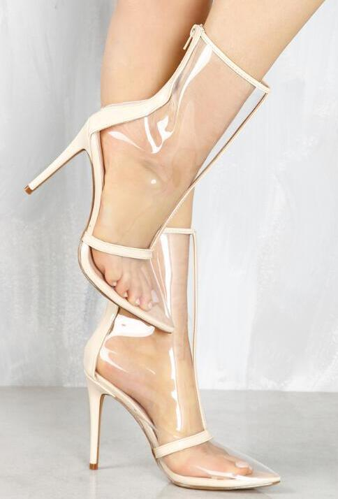 Cuir Black 2018 Haut Chaude Bottes Patchwork Stiletto Dames Cheville Mode Vente Pvc Sexy Bracelet Femmes De nude Toe Transparent Peep Talon En 66pRrq