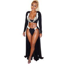 Sexy Party Women Two Piece Sets Long Sleeve V Neck Floral Lace Crop Top and High Split Maxi Skirt Set Nightclub Dress Women Set