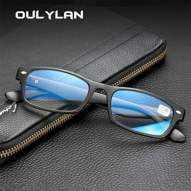 Oulylan Unisex Reading Glasses Classic Anti-fatigue Lens for Men Women Reading Comfortable Eyewear with Diopter 1.0 2.0 2.5 3.0