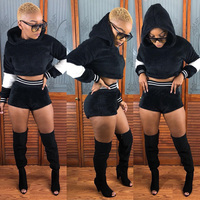 Wool TWO PIECE SET Velvet Runway Shorts Crop Top Hoodie Leisure Suit Velour Women Winter Clothing Sexy Matching Club Outfits