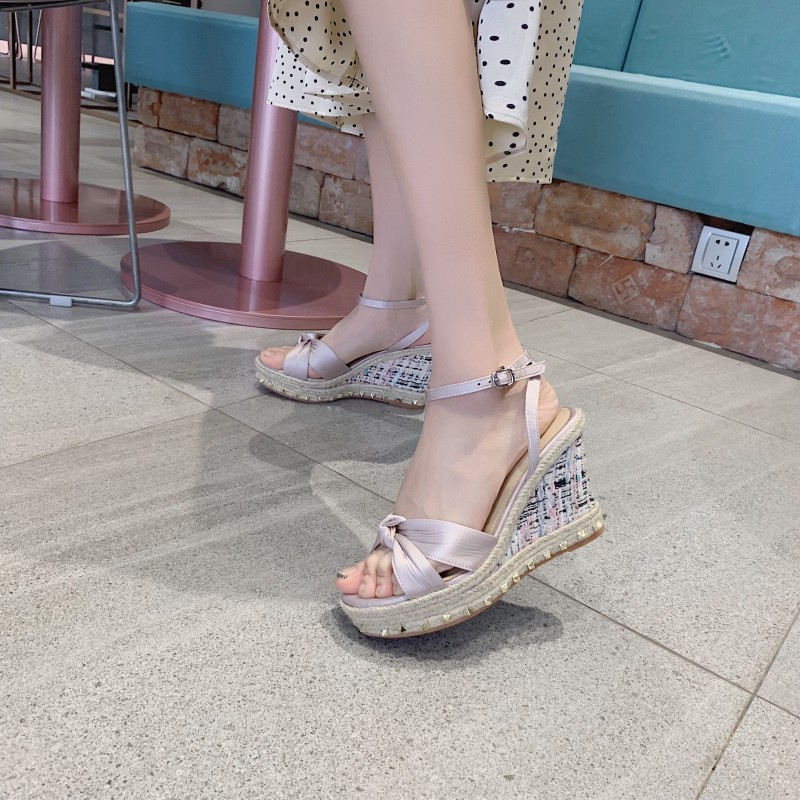Carole Levy Sandals Woman New High Heel Wedge in Crystal Embellished Patchwork Pattern Ladies Shoes For Casual Size 34-39Carole Levy Sandals Woman New High Heel Wedge in Crystal Embellished Patchwork Pattern Ladies Shoes For Casual Size 34-39
