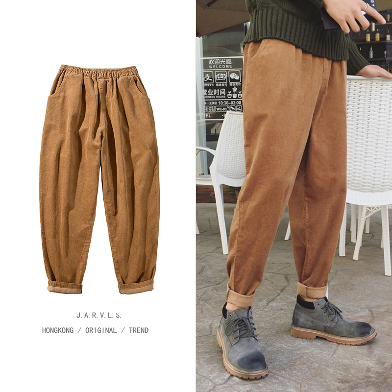 Winter Pants Men Warm Plus Velvet Thick Fashion Corduroy Trousers Street Loose Hip Hop Casual Solid Color Joggers Sweatpants Man