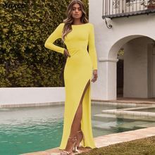 Autumn Winter Women Long Dresses Fashion Hollow Out Backless Sexy Long Sleeve Bodycon Dress Solid Color Slim Maxi Dress Vestidos 2019 autumn winter vintage pleated maxi women dress long sleeve slim dresses with belt solid color elegant party dress vestidos