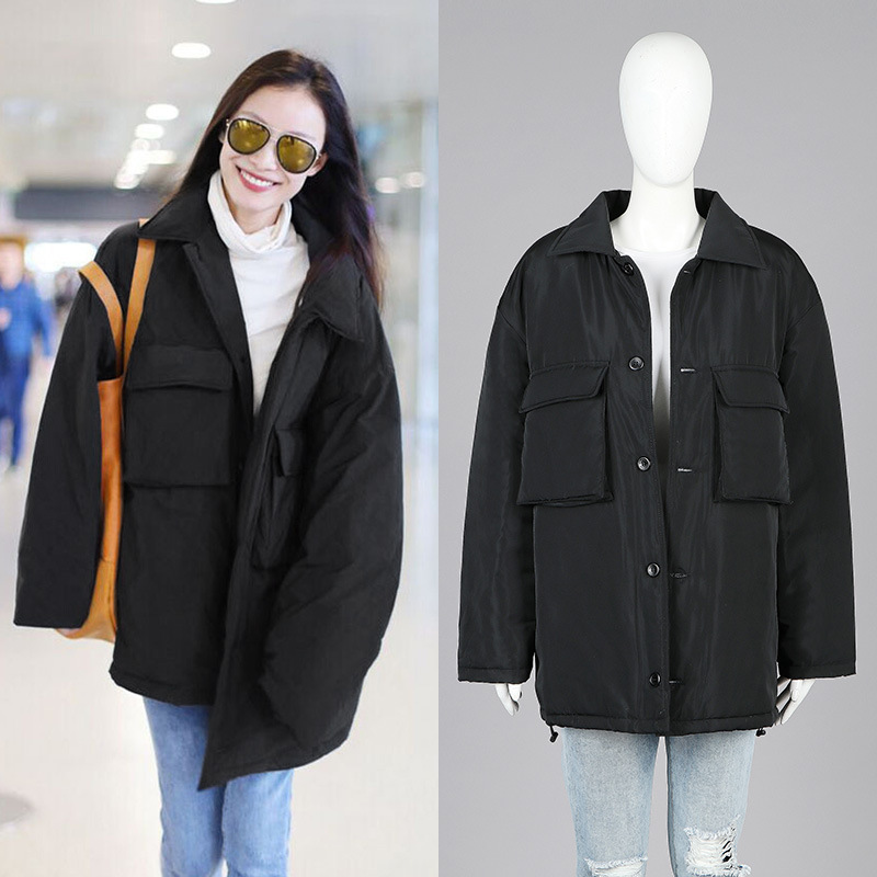 Korean winter parkas female large size loose parkas jacket long padded thick warm parkas coat women winter 17112