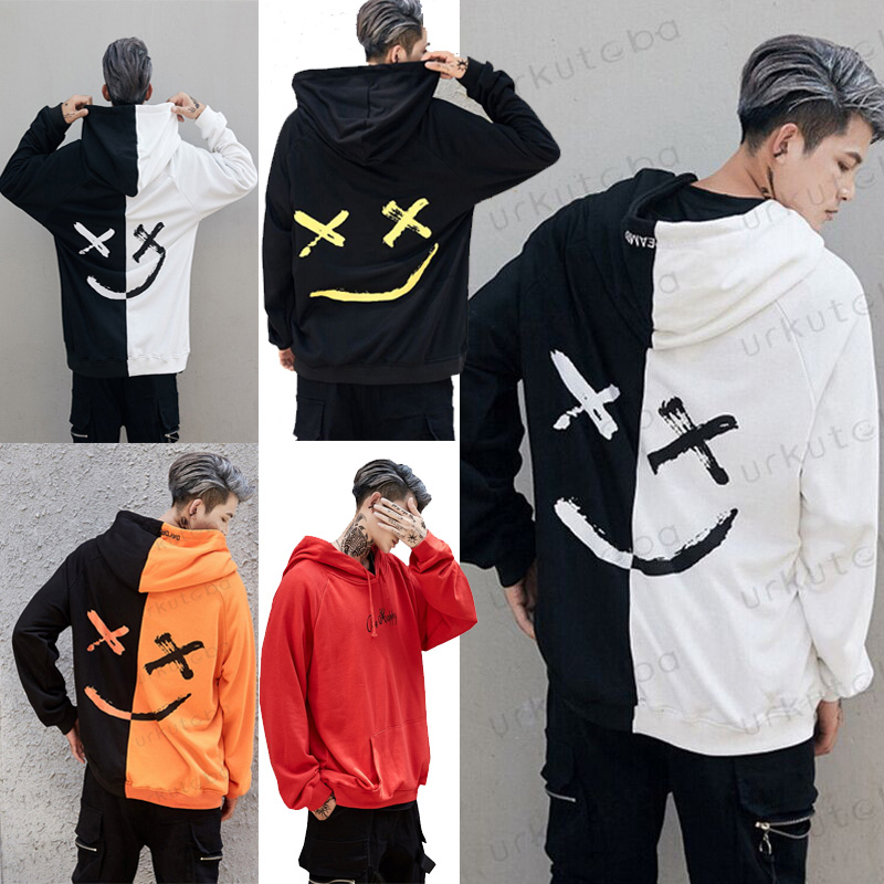 2019 Hot Fashion Men Woman Pullover Hooded Sweatshirt Casual Flame Hoody Warm Smile Print Headwear Hoodie Hip Hop Plus Size