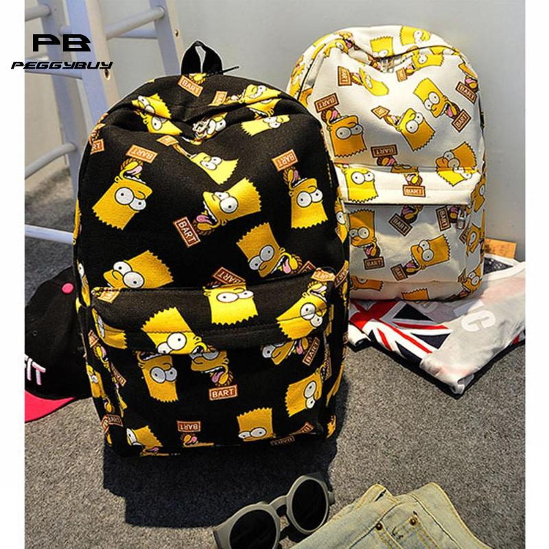 Cartoon The Simpsons Printing Women's Backpacks Canvas School Bags For Teenage Girls Female Travel Backpack Mochila Feminina
