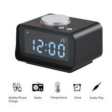 ساعة ذكية منبه رقمي متعددة الوظائف FM راديو بساعة منبه USB مزدوج AUX وظيفة توصيل MP3 MP4 المساعد الشخصي الرقمي (EU/US Plug)