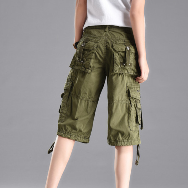0916 Summer Cargo Short For Women Straight Loose Multi pockets Military Plus Size Shorts Feminino Streetwear Khaki Black Blue in Shorts from Women 39 s Clothing