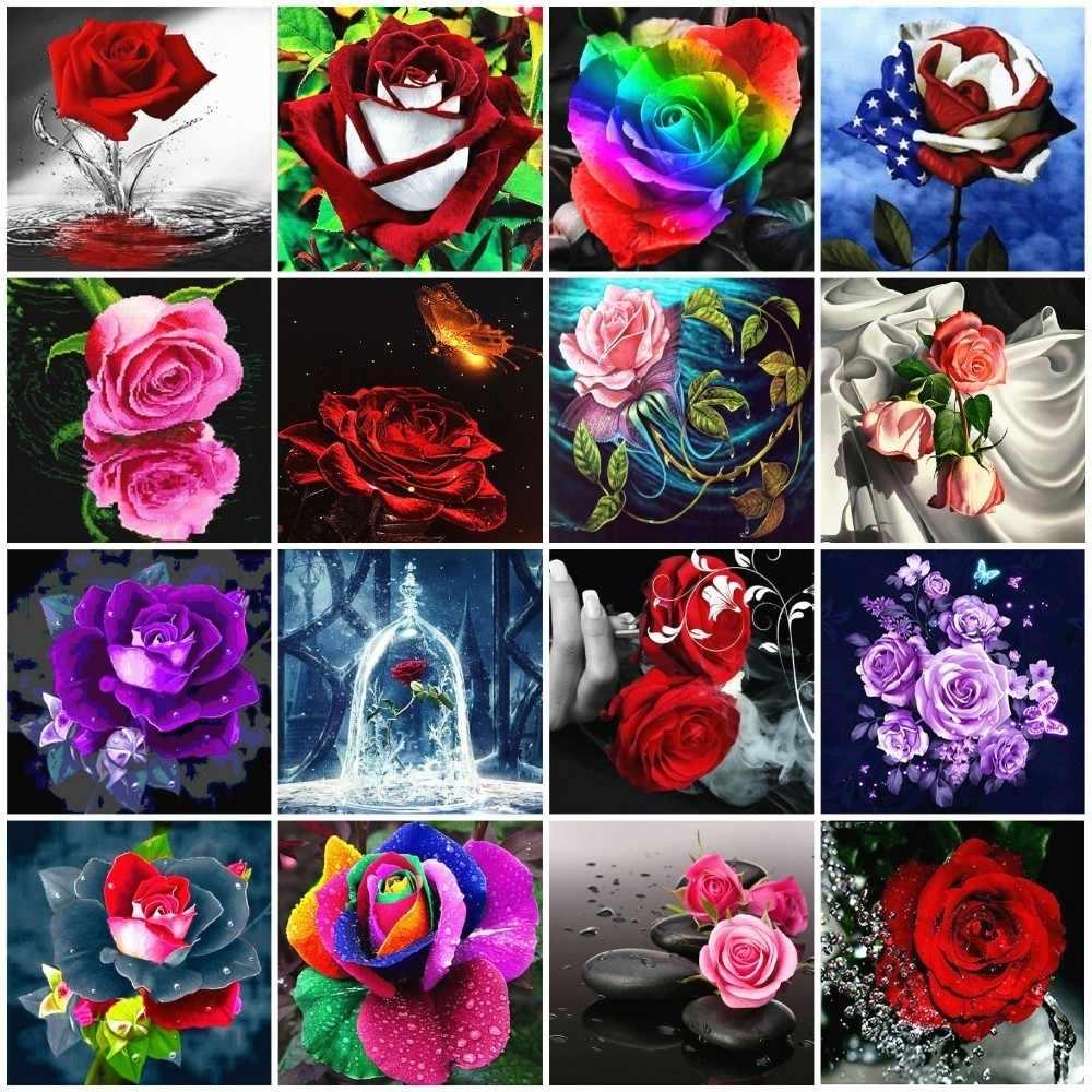 Azqsd Diamant Schilderij Bloemen Rose Handgemaakte Cadeau Volledige Vierkante Diamanten Borduurwerk Bloemen Serie Home Decor Mozaïek Drop Shipping