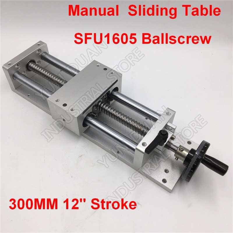 """300MM 12"""" Stroke Manual hand wheel Linear module Sliding Table Slide Linear Stage SFU1605 Ball screw C7 Displacement platform-in Linear Guides from Home Improvement    1"""