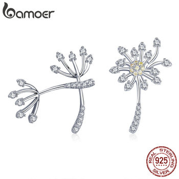 3ee4824ce667 BAMOER genuino 925 plata esterlina flor diente de león amor exquisito Stud  pendientes para las mujeres joyería de plata de moda SCE506