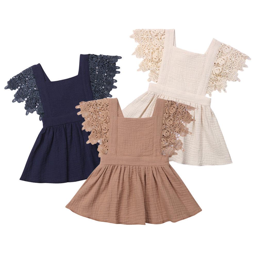 Robe florale en dentelle sans manches | Vêtements dété, en coton, pour bébés filles de 0-3ans, nouvelle collection 2019