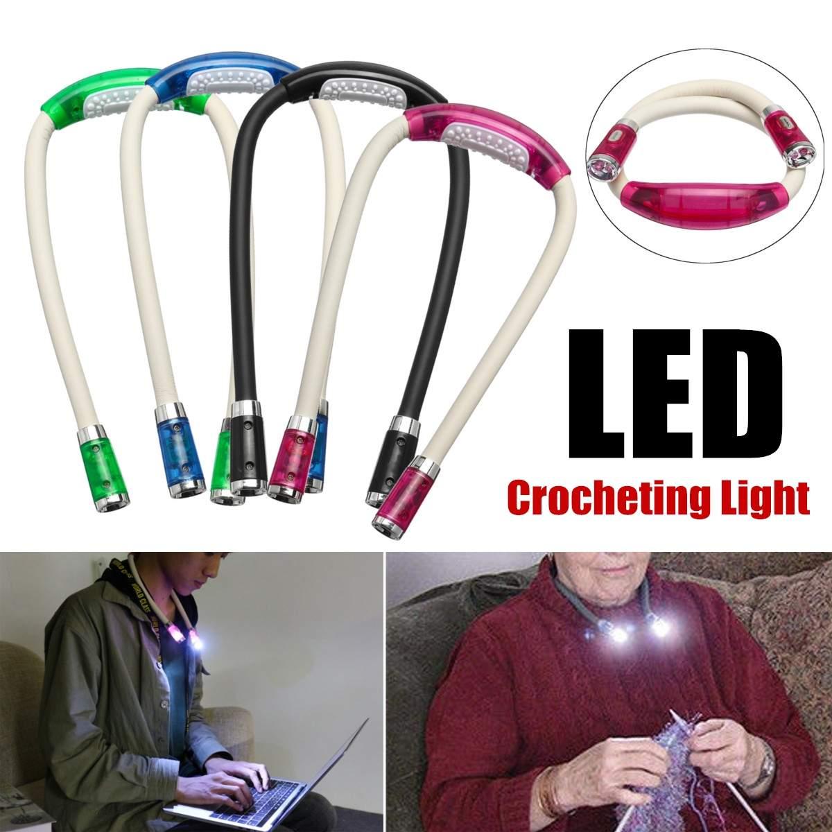Handsfree LED Шея ночник гибкий вязание крючком книга свет лампа для чтения 4 вида цветов на батарейках освещение для помещений
