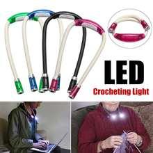 Luz noturna de pescoço flexível led, de tricô, para leitura, 4 cores, funciona a bateria, iluminação interna