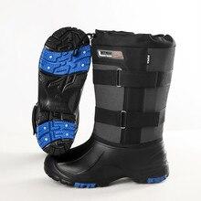 Homens inverno ao ar livre escalada esqui caminhadas caça térmica snowfield sapatos de pesca quente antiderrapante com pregos de aço botas de neve alta