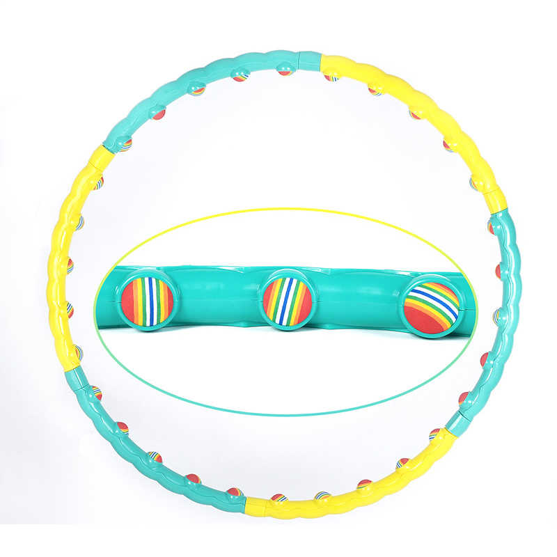 6 Sections Removable Sports Hoop Rainbow Ball Massage Exerise Fitness Hoop Equipment Women Gym Workout Fitness Circle