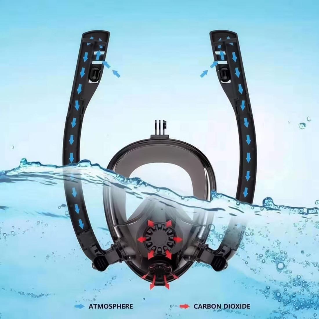 K2 Dos De Natation Respiration masque de plongée en apnée Anti Fuite masque de plongée Avec Double Tubes Et support caméra Pour Gopro L/XL