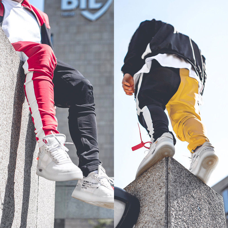 Men's Gym Slim Fit Trousers Tracksuit Bottoms Skinny Patchwork Joggers Sweat Track Pencil Pants