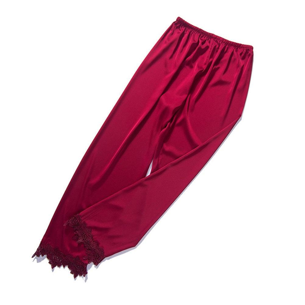 Autumn Soft Women\\'S Sexy Silk Print Pajamas Casual High Waist Loose Sleep Pants