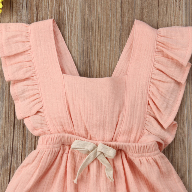 Citgeett sUMMER Newborn Baby Girls Ruffle Solid Color Bodysuit Jumpsuit Outfits Summer Casual Clothing Sunsuit 4