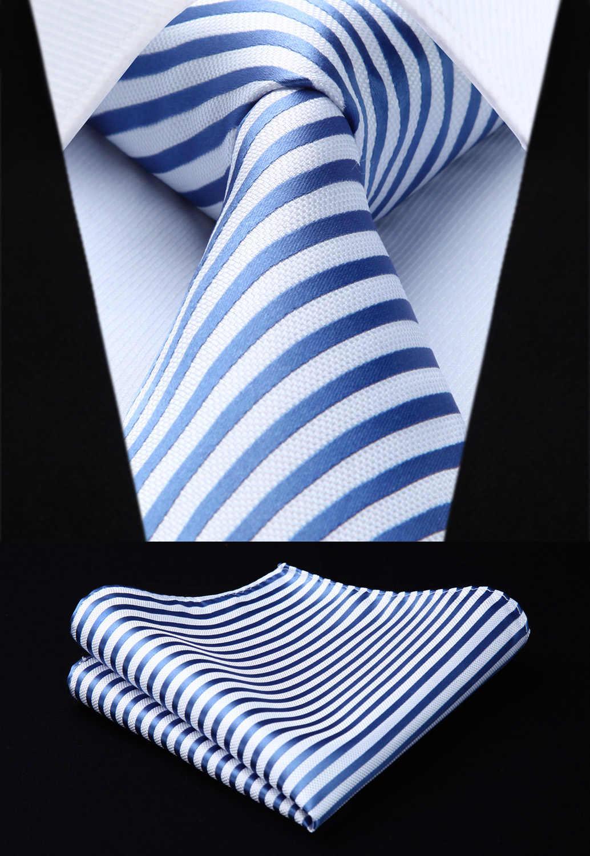 2f76a463724d4 New Striped Mens Tie Blue White Woven Silk Necktie Handkerchief Set Party  Wedding Classic Fashion Pocket