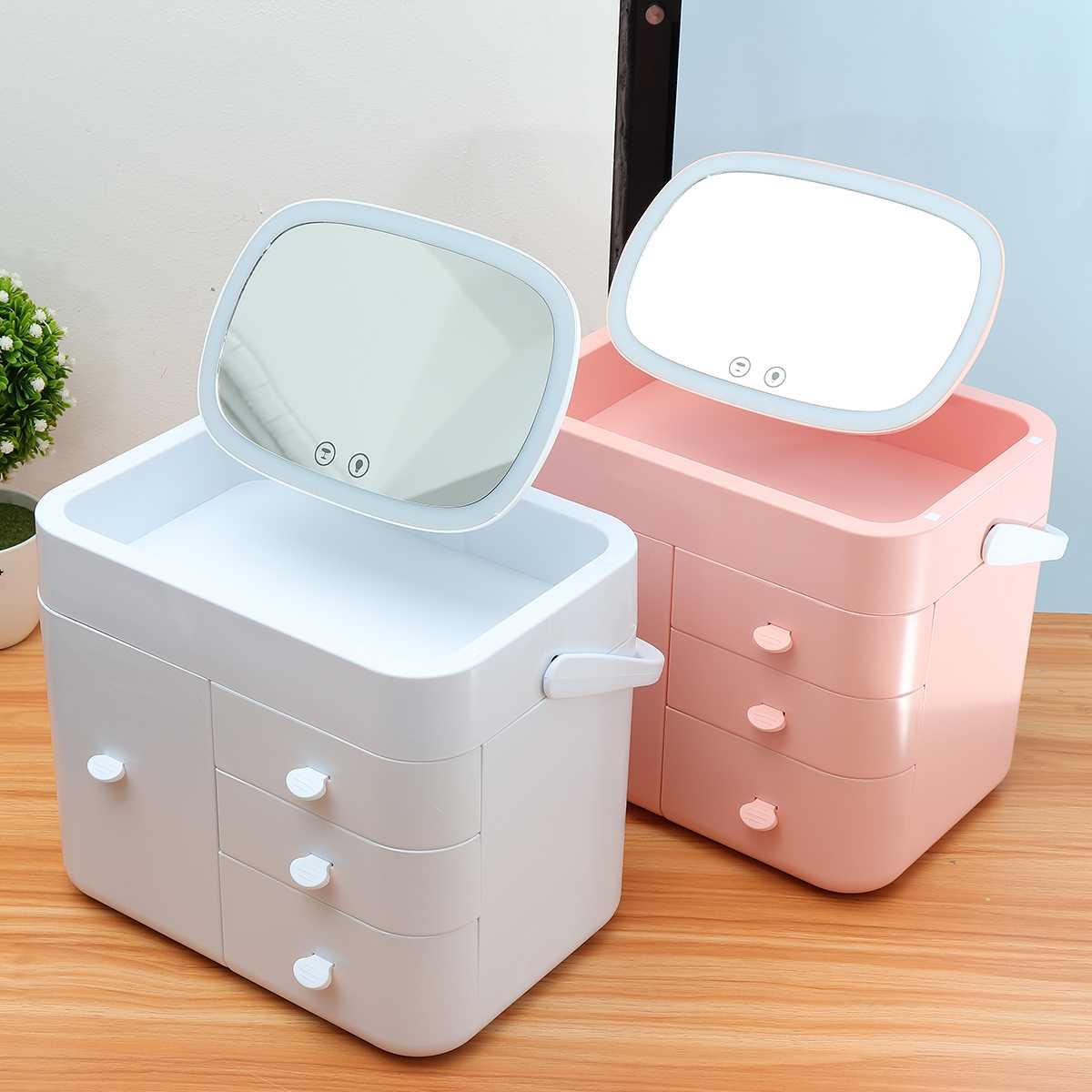 2 couleurs LED miroir cosmétiques tiroir organisateur boîte à bijoux multi-couche ménage finition boîte en plastique maquillage boîte de rangement