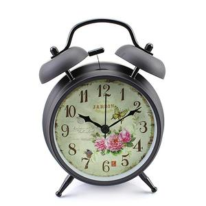 4 inch Retro Vintage Bedside Twin Bell Alarm Clock With Loud Alarm and Nightlight (Black Case - Roses)