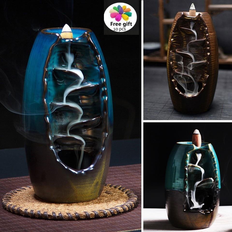 Mountain Handicraft Incense Burner Holder Backflow Ceramic Censer Home Decor