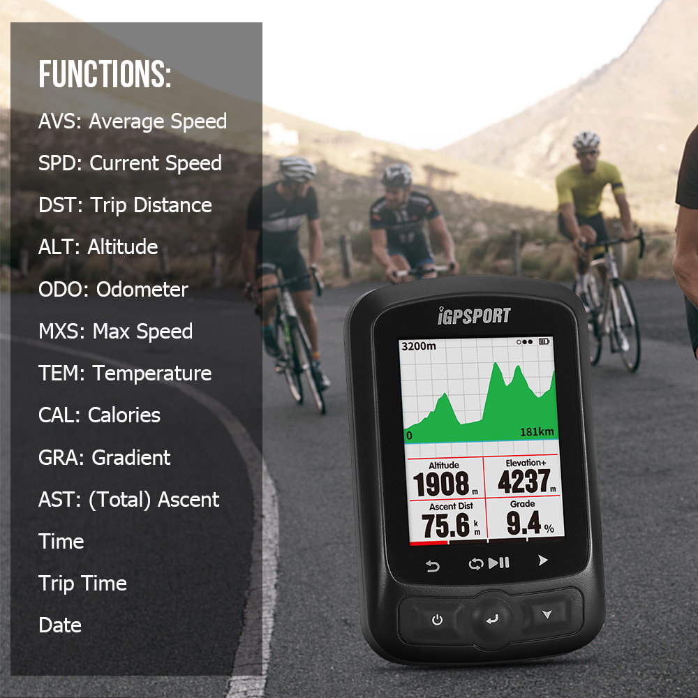 iGPSPORT ANT+ <font><b>GPS</b></font> IGS618 <font><b>Bike</b></font> Bicycle Bluetooth Wireless Stopwatch Waterproof IPX7 Wireless Cycling Speedometer with Road <font><b>Map</b></font> image