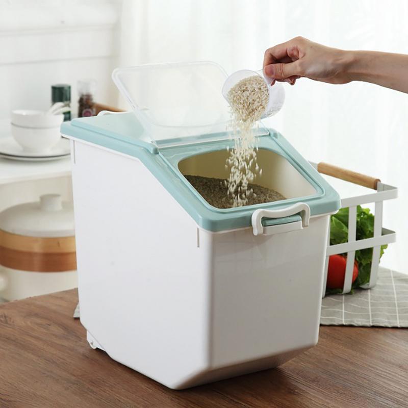 Plastic sealed Rice Cylinder moisture proof Food storage box kitchen grain Cereal Flour Rice Bean Grain Container Box Keep Fresh Storage Boxes & Bins Home & Garden - title=