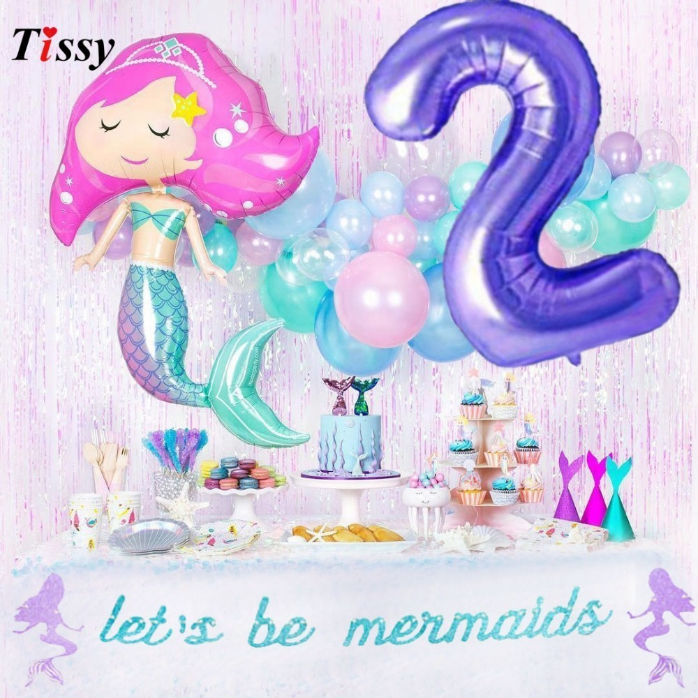 Us 0 95 26 Off 1set Mermaid Party Table Decorations Paper Disposable Tableware Purple Number Balloons For Kids Birthday Wedding Party Supplies In