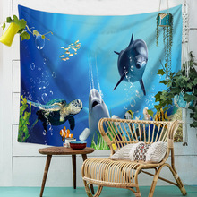 Boho Decor Tapestry Wall Hanging Marine Life Turtle Dolphin Coral Vivid Hippie Tapestry Throw Beach Wall Cloth Tapestries Carpet недорго, оригинальная цена